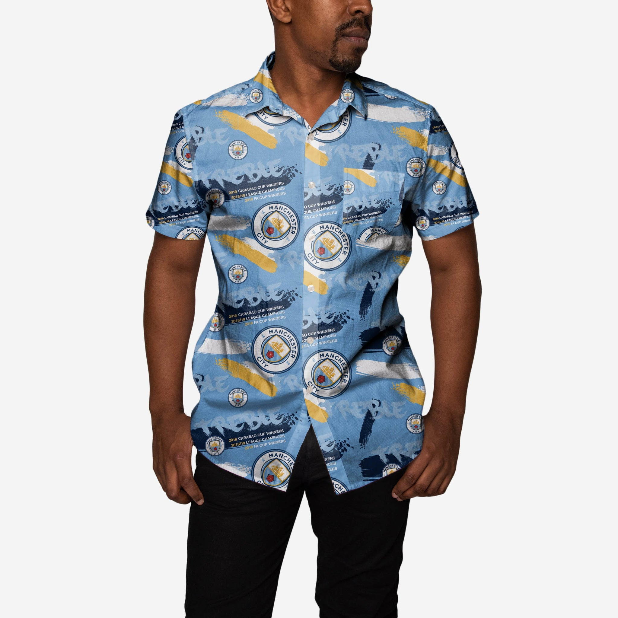 122b30bcba7 Manchester City FC 2018-19 Treble Winners Floral Button Up Shirt FOCO - FOCO .