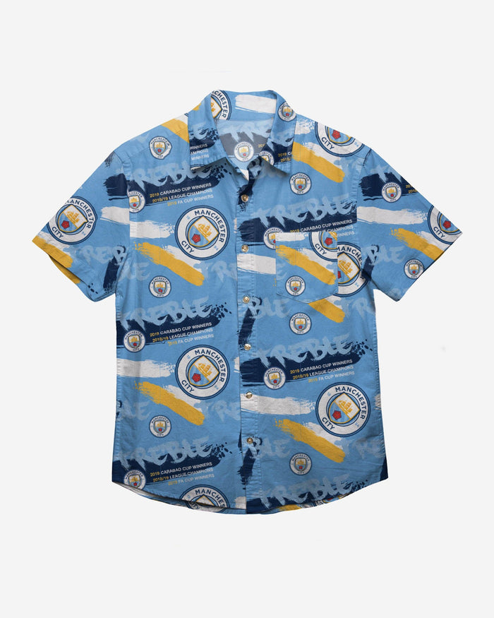 Manchester City FC 2018-19 Treble Winners Floral Button Up Shirt FOCO - FOCO.com | UK & IRE