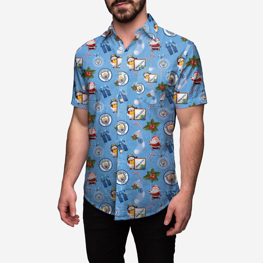 Manchester City Tropical Christmas Button Up Shirt FOCO - FOCO.com | UK & IRE
