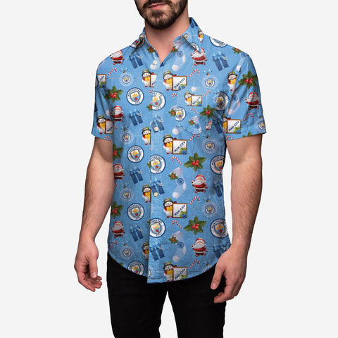 Manchester City Tropical Christmas Button Up Shirt