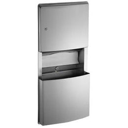 Recessed Paper Towel Dispenser and Removable Waste Receptacle -Stainless Finish