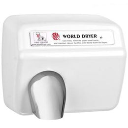 World Dryer XA5 Hand Dryer, Automatic, Cast Iron, White -Vandal Resistant