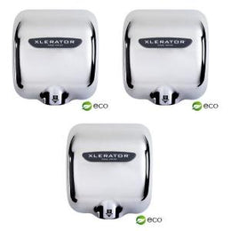 Xlerator XL-C Eco Chrome Hand Dryers - 3 Pieces