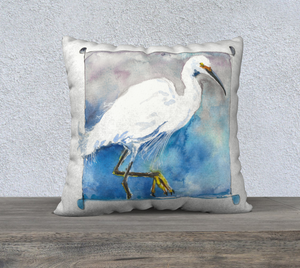 Snowy Egret (Charlie) Pillow Cover 22x22