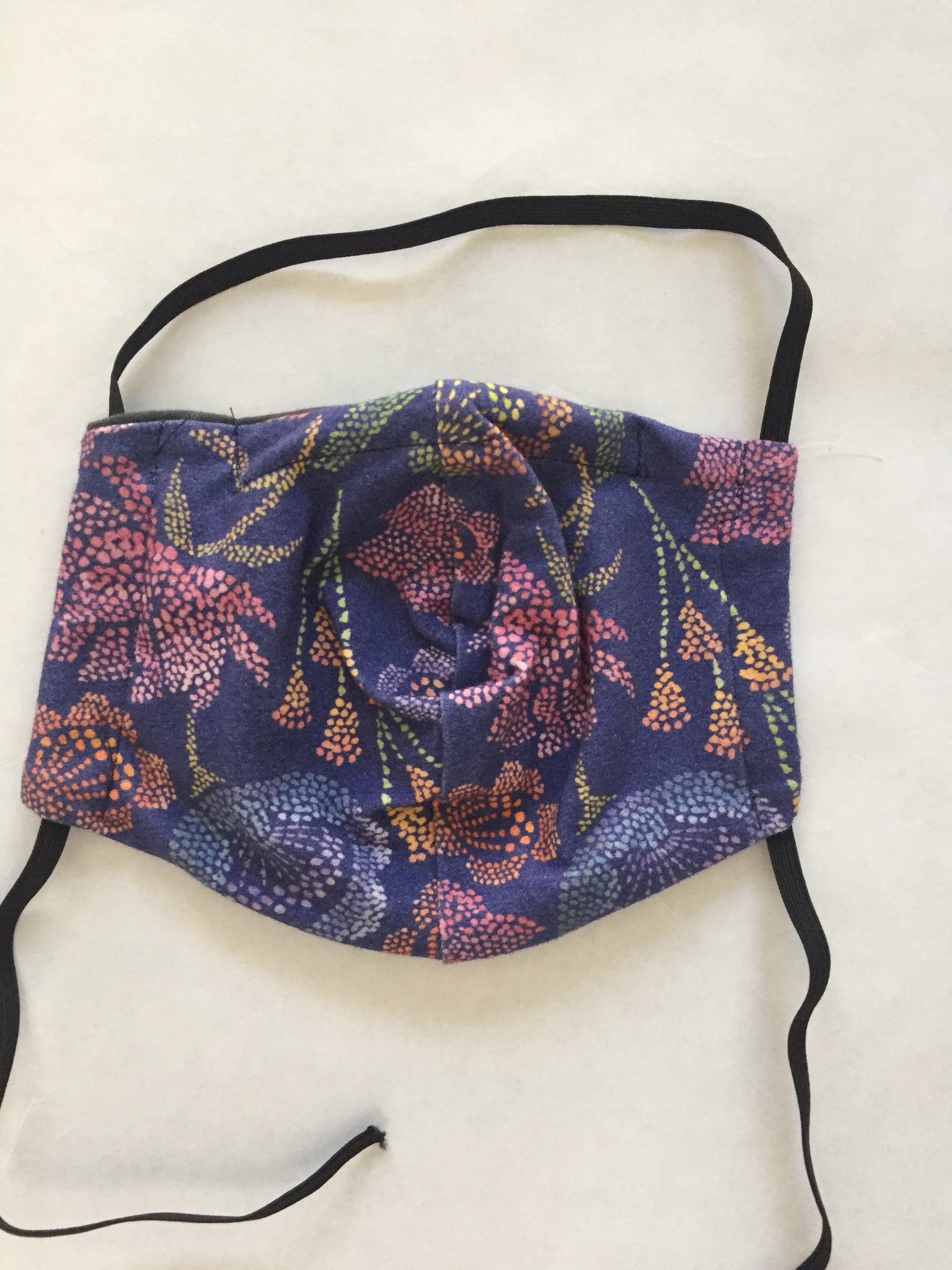 Purple Flowers Reversible Soft Stretch Organic Cotton Mask with Nose Wire