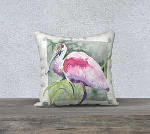 "Roseate Spoonbill pillow cover 18""x18"""