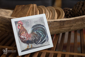 "Rooster Watercolor Print on Wood 6""x6""x7/8"""