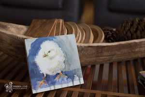 "Chick Watercolor Print on Wood 6""x6""x7/8"""