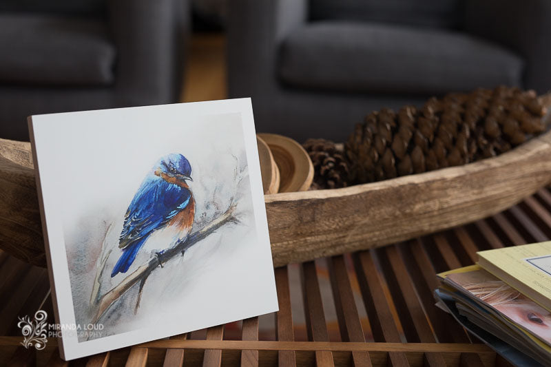 "Bluebird Watercolor on Wood 8""x8"""