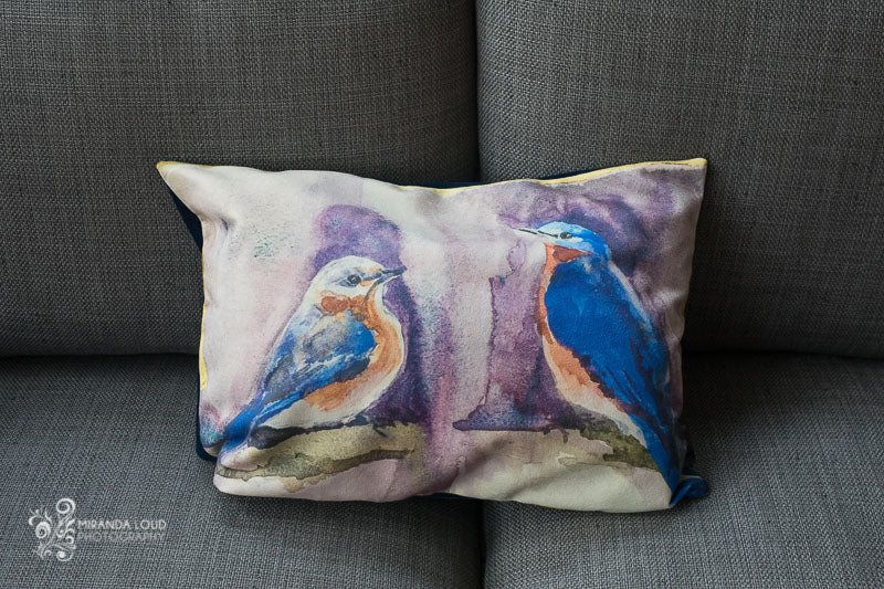 "Bluebirds and Gold Pillow Cover 20""x14"""
