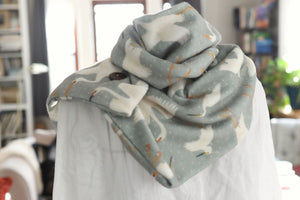 Egrets on Gray Soft Fleece Handmade Scarf