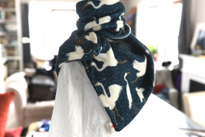 Egrets on Navy Soft Fleece Handmade Scarf