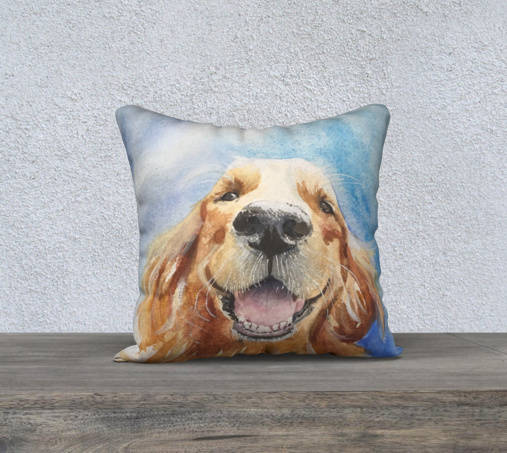"Hobbes the Golden Retriever Pillow Cover 18"" x18"""