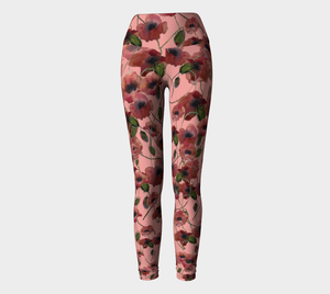 Pink Poppies Yoga Leggings