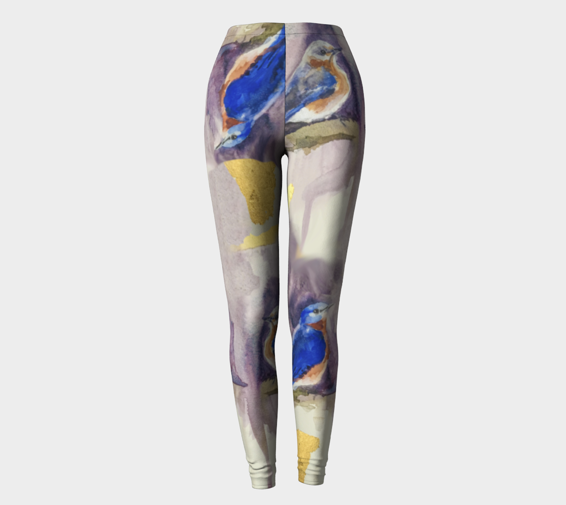 Bluebirds and Gold Fashion Legging
