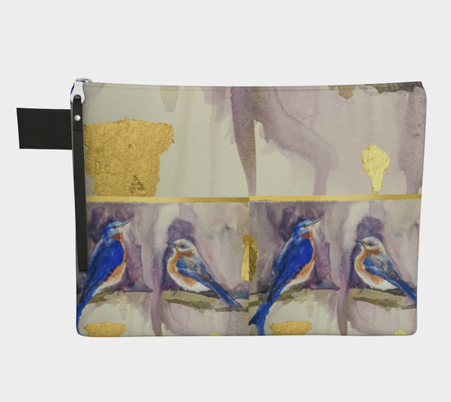 Bluebirds and Gold Zipper Carryall Clutch