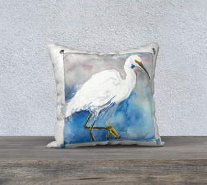 "Snowy Egret (Charlie) Pillow Cover 18""x18"""