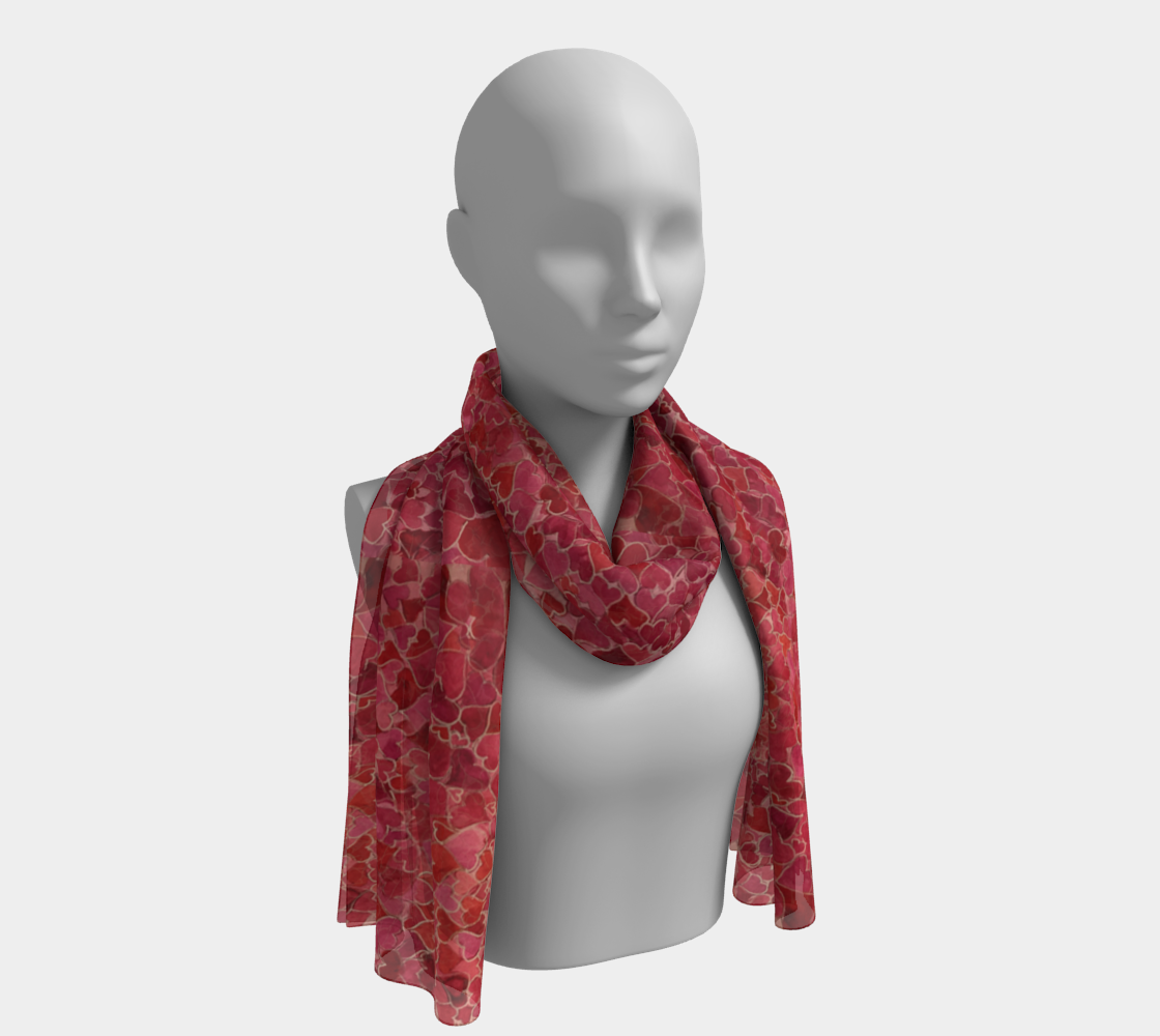 Hearts and Valentines Pure Habotai Silk Scarf in Two Lengths