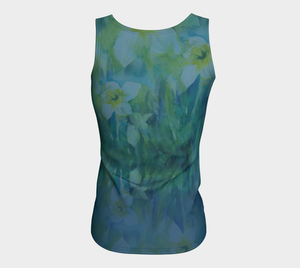 Daffodils in Blue and Green Fitted Tank (Long)