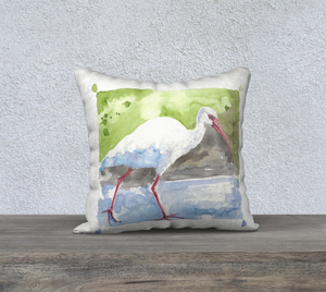"White Ibis pillow cover 18""x18"""