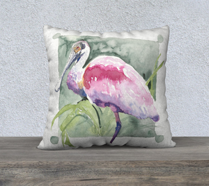 "Roseate Spoonbill pillow cover 22""x22"""