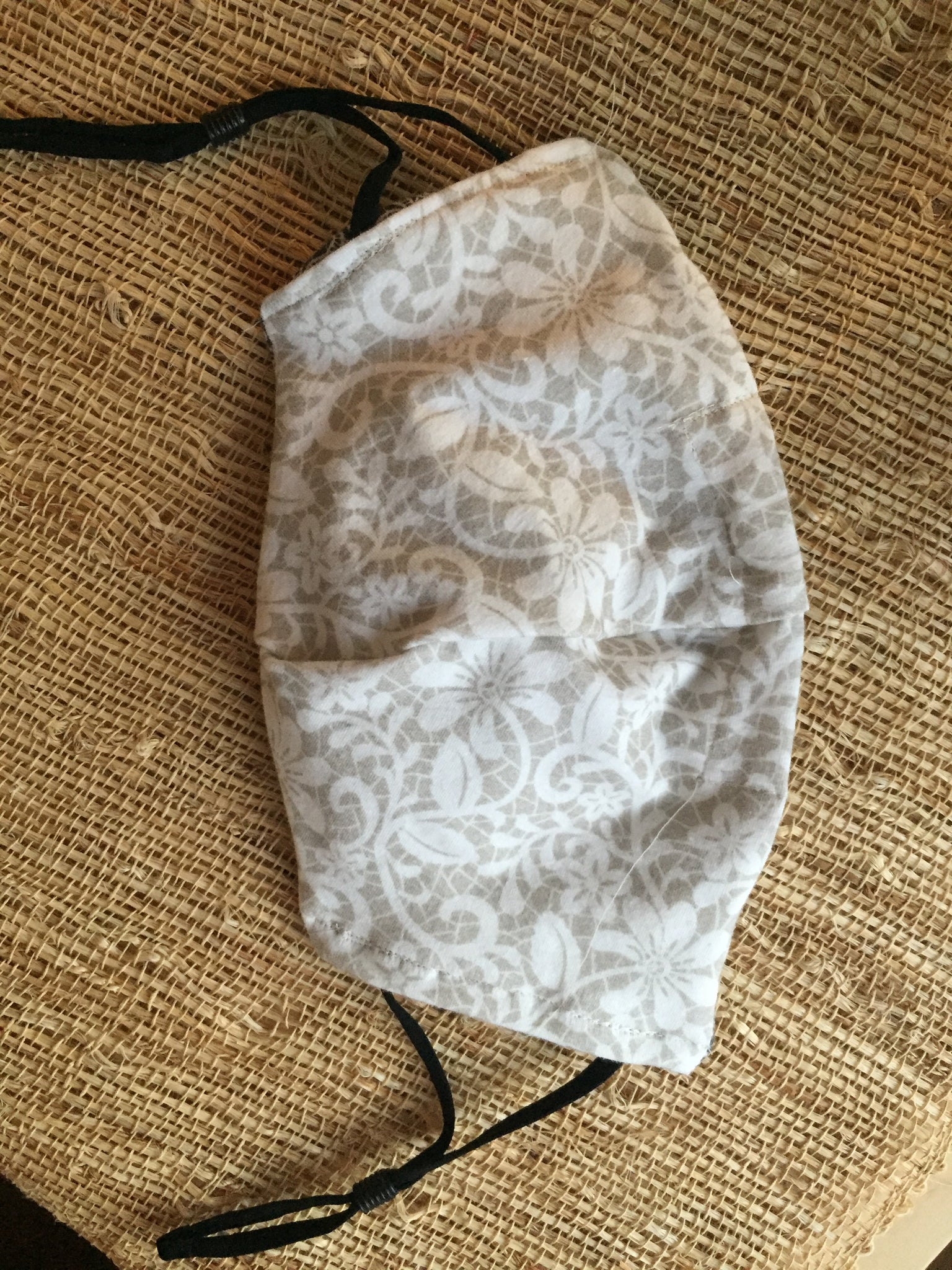 White Lace/Black Lace Print Reversible Soft Stretch Organic Cotton Mask with Nose Wire