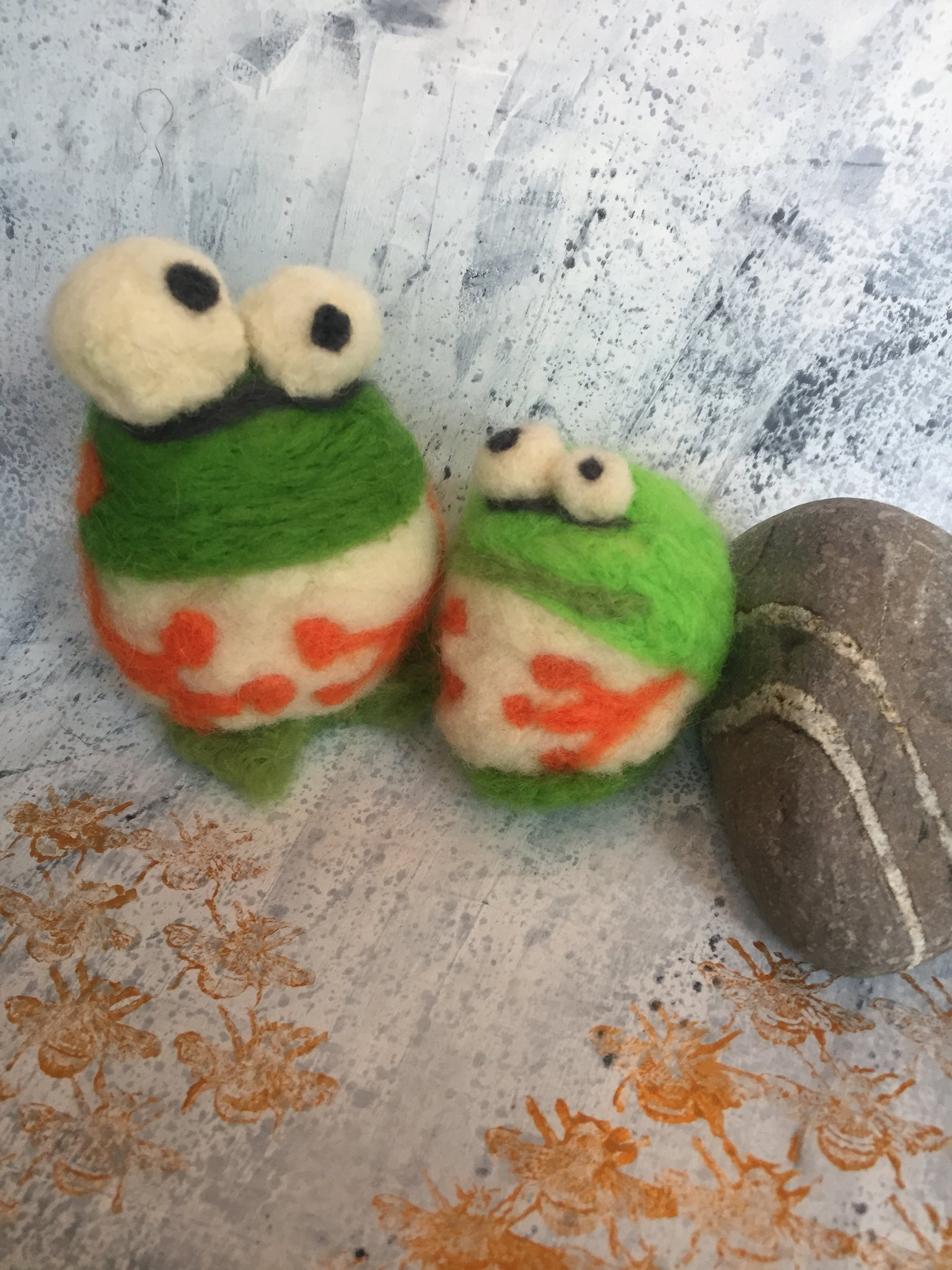 Pair of Needle Felted Frogs