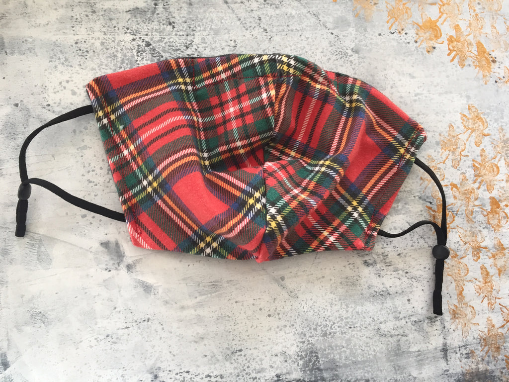 Royal Stewart Tartan Reversible Soft Stretch Organic Cotton Mask with Nose Wire
