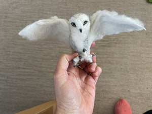 Needle Felt Snowy Owl Sculpture