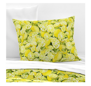 Pillow Sham - Watercolor Lemons