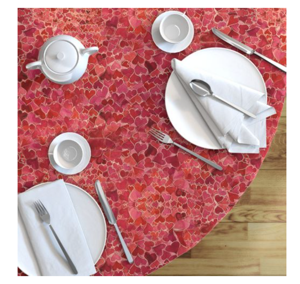 Round Tablecloth Hearts and Valentines