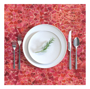 Rectangular Tablecloth Hearts and Valentines