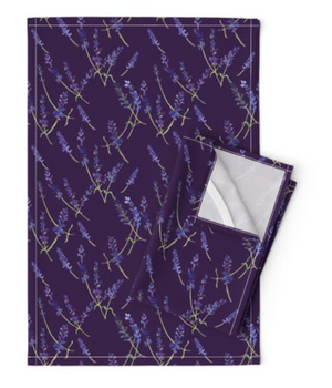 Fresh Lavender Deep Violet Tea Towel