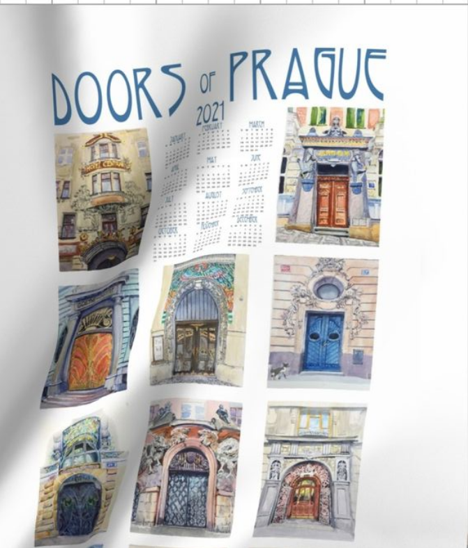 2021 Calendar Doors of Prague Tea Towel
