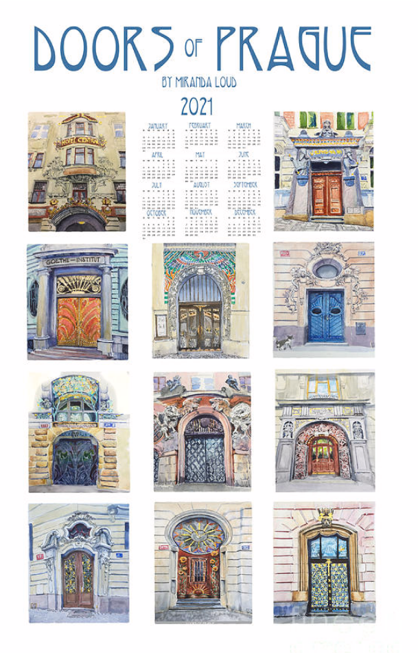 2021 Calendar Doors of Prague Dish Towel or Poster