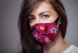 Bright Pink Poppies Reversible Soft Stretch Organic Cotton Mask with Nose Wire