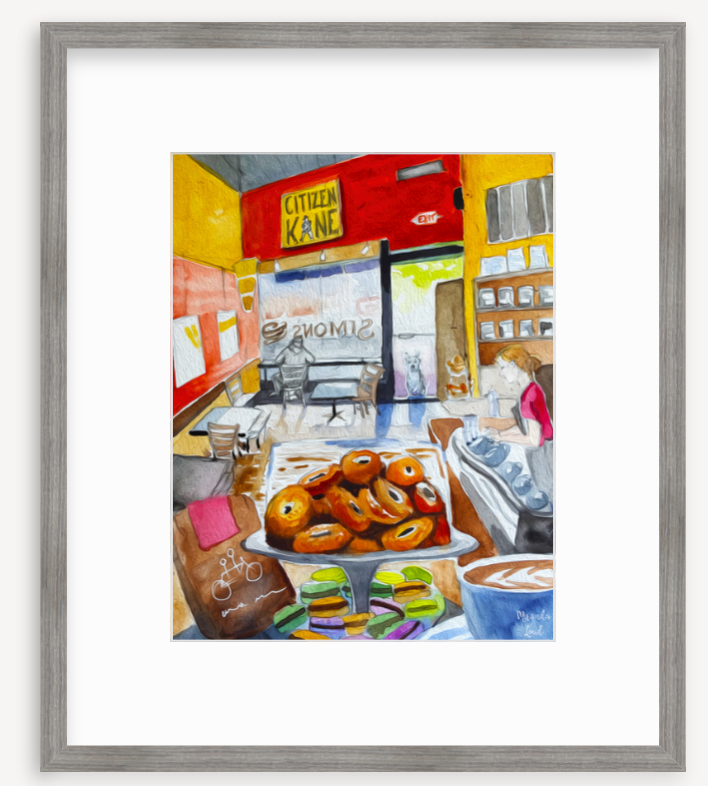 Framed Print: Simon's Coffee Shop, Cambridge, MA