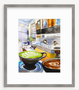 Framed Print: Ogawa Coffee, Boston, MA