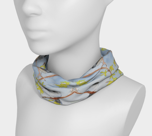 Chickadees and Forsythia 4 in 1 Headband/Hairband/Funnel Scarf/Scrunchy