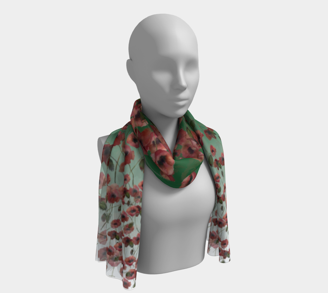 Poppies Scarf on a Green Ground