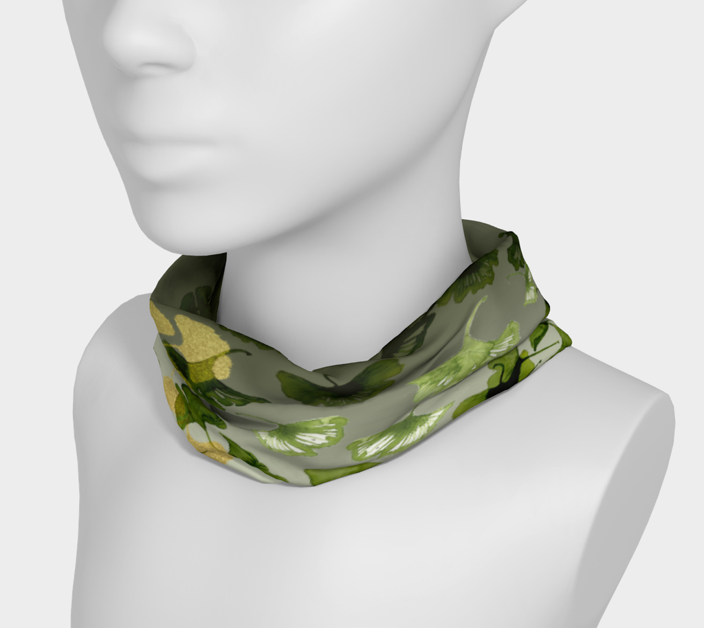 Ginkgo and Gold 4 in 1 Headband/Hairband/Funnel Scarf/Scrunchy