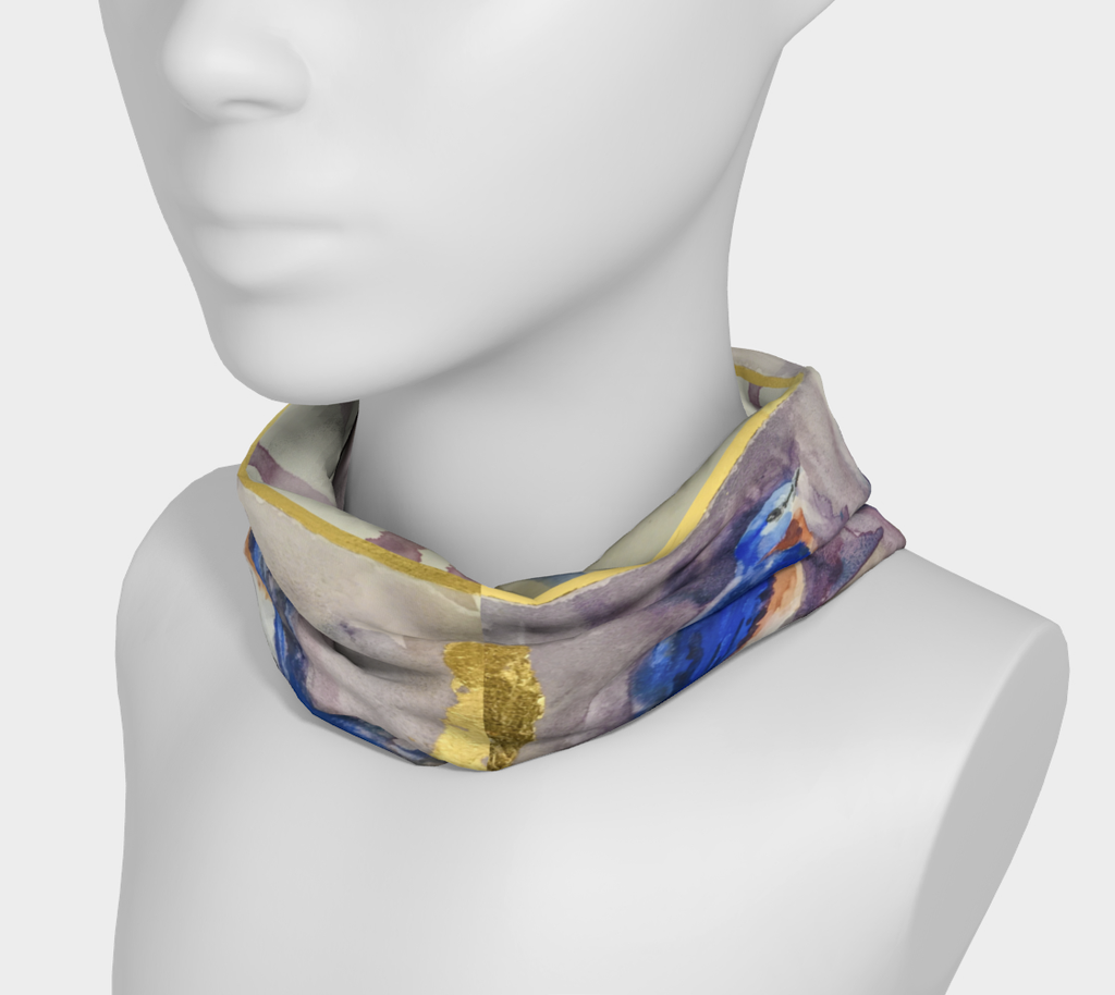 Bluebirds and Gold 4 in 1 Headband/Hairband/Funnel Scarf/Scrunchy