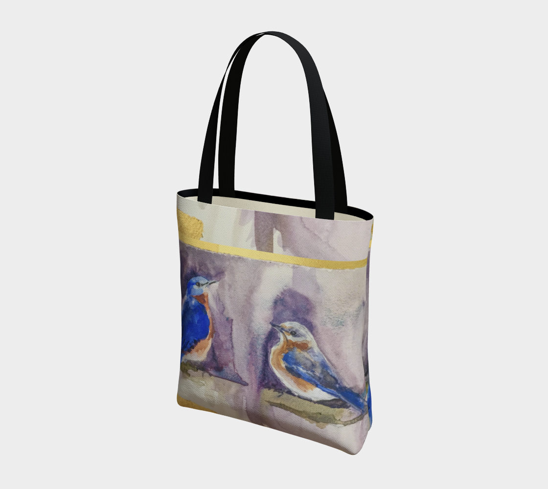 Bluebirds and Gold Elegant Lined Handbag
