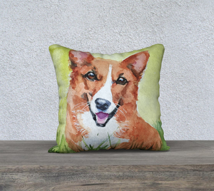 "Corgi PIllow ""Rocky"" 18""x18"""