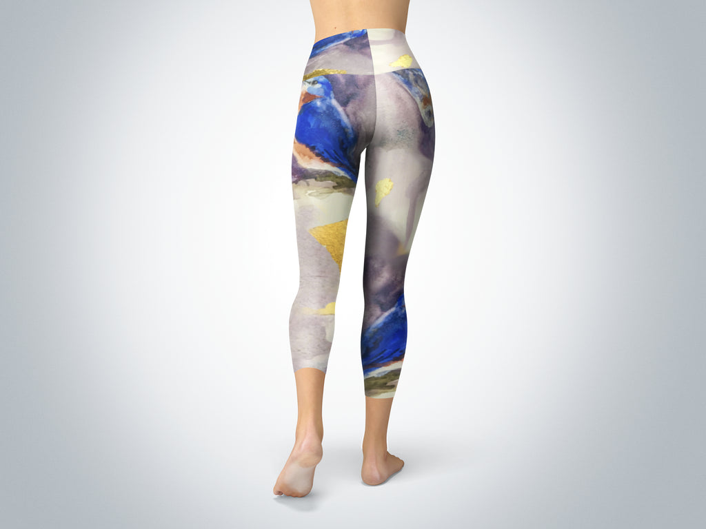 Bluebirds and Gold Yoga Capris