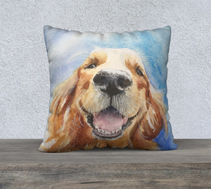 "Hobbes the Golden Retriever  Pillow Cover 22"" x22"""