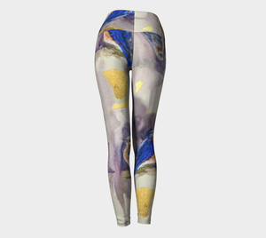 Bluebirds and Gold Yoga Leggings