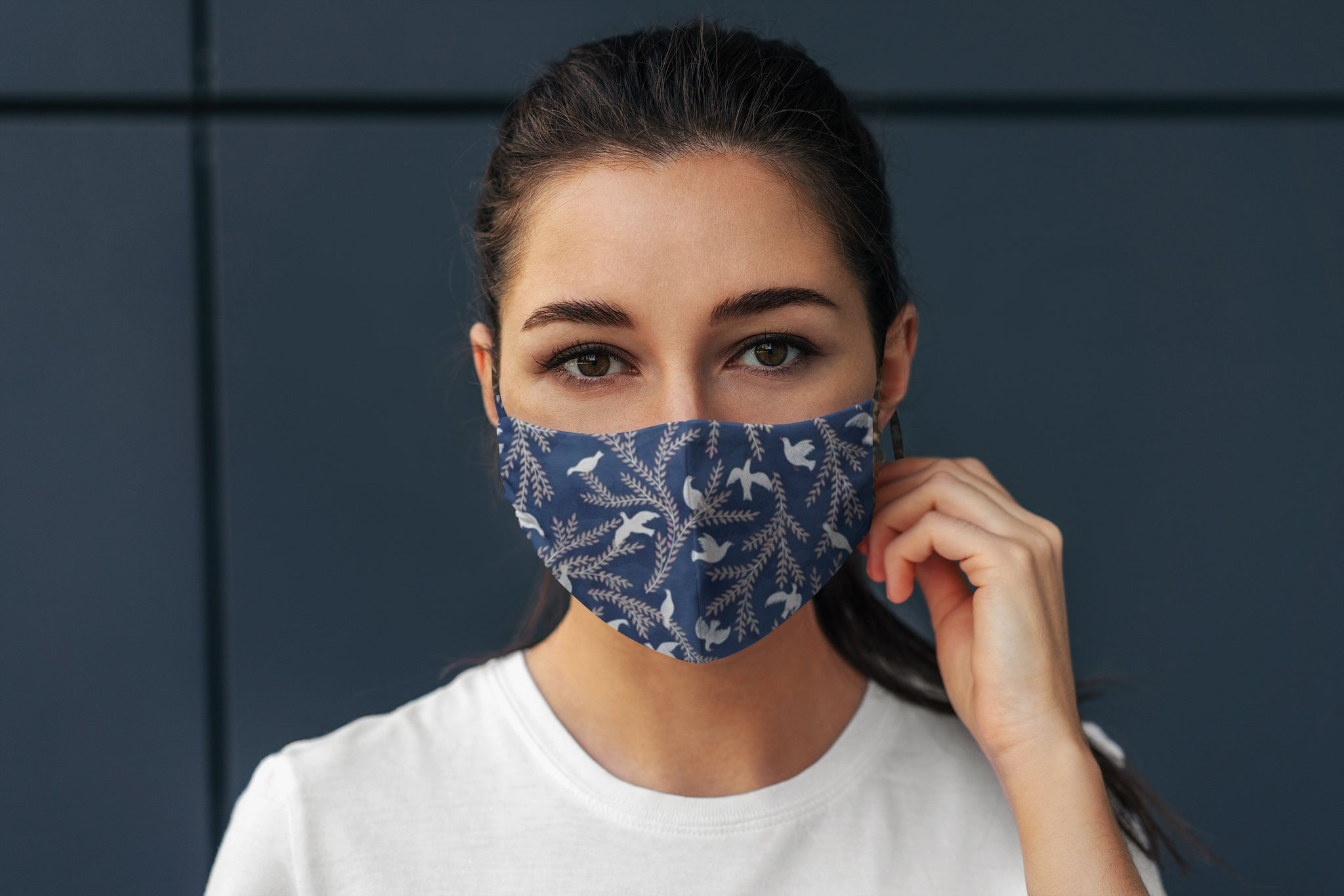 Doves of Peace Reversible Soft Stretch Organic Cotton Mask with Nose Wire