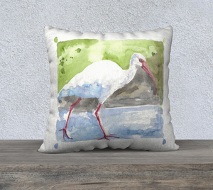 "White Ibis pillow cover 22""x22"""