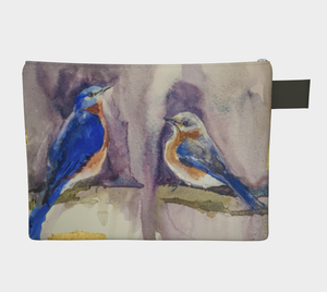 Bluebirds and Gold Zipper Clutch Carryall